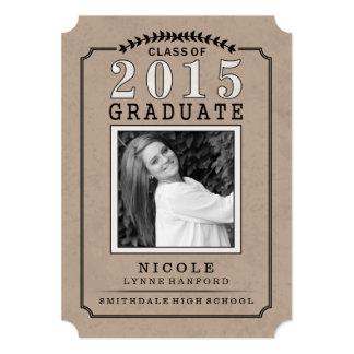 """El fiesta graduado de Brown de la foto 2015 invita Invitación 5"""" X 7"""""""