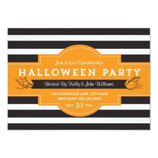 El fiesta intrépido de Halloween de las rayas Invitación 12,7 X 17,8 Cm
