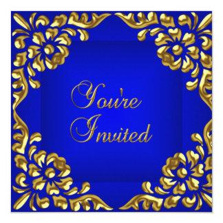 """El fiesta invita al azul real del oro todas las invitación 5.25"""" x 5.25"""""""