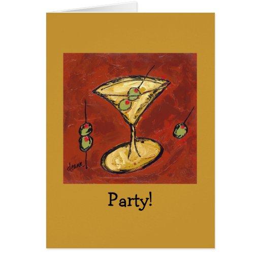 el fiesta invita con martini tarjeta de felicitación