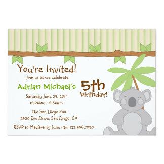 """El fiesta lindo de la koala invita invitación 5"""" x 7"""""""