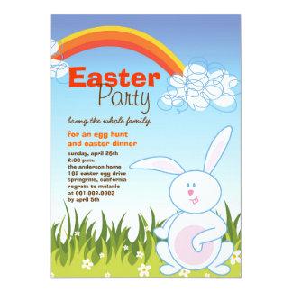 """El fiesta lindo del arco iris de los huevos del invitación 4.5"""" x 6.25"""""""