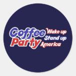 El fiesta los E.E.U.U. del café despierta se Pegatina Redonda