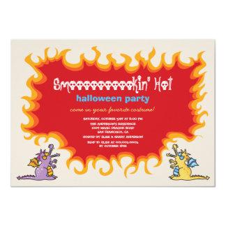 """El fiesta mágico de Halloween del fuego de los Invitación 4.5"""" X 6.25"""""""