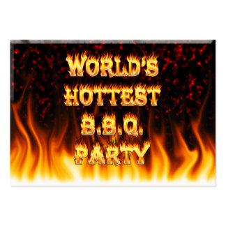 El fiesta más caliente del Bbq del mundo rojo de Tarjetas De Visita Grandes