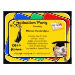 El fiesta negro el gruñidor de la graduación del d invitación personalizada