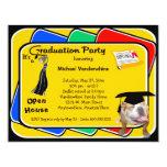 El fiesta negro el gruñidor de la graduación del invitación personalizada