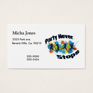 El fiesta nunca para tarjeta de negocios