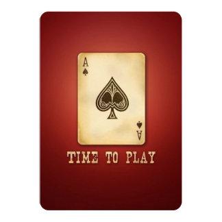 El fiesta o el torneo del póker del as del vintage invitación 12,7 x 17,8 cm