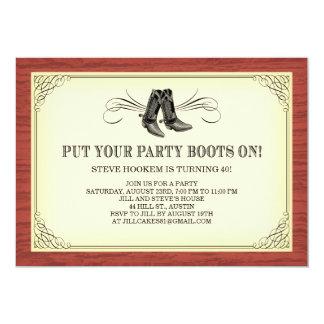 El fiesta patea viejas invitaciones occidentales invitación 12,7 x 17,8 cm