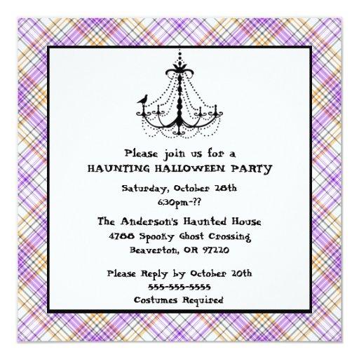 """El fiesta púrpura y anaranjado de Halloween lindo Invitación 5.25"""" X 5.25"""""""