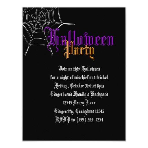 """El fiesta púrpura y anaranjado de Spiderweb Invitación 4.25"""" X 5.5"""""""