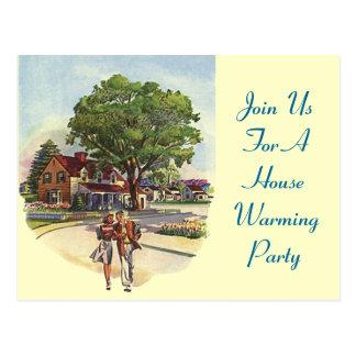 ¡El fiesta que se calienta de la casa retra de los Tarjeta Postal