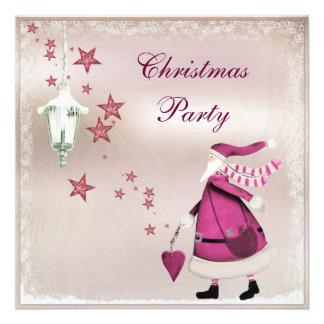El fiesta retro de Santa del vintage rosado capric Invitación