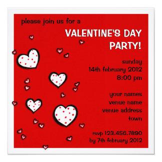 El fiesta rojo del el día de San Valentín de los Invitación 13,3 Cm X 13,3cm