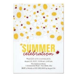 El fiesta rojo del verano de las mariquitas de las invitaciones personales