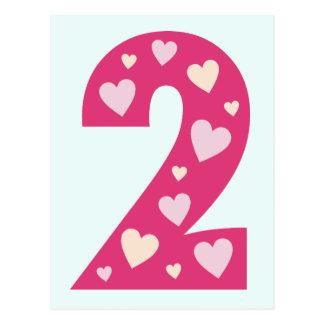 El fiesta rosado feliz de la postal del número 2 d