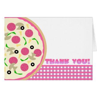 El fiesta rosado y púrpura de la pizza le agradece tarjeta pequeña