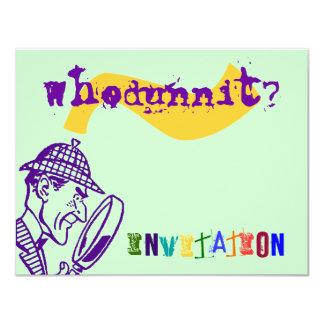 """El fiesta Sherlock del misterio de Whodunnit Invitación 4.25"""" X 5.5"""""""