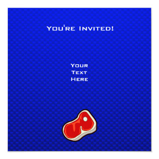 """El filete del carnicero azul invitación 5.25"""" x 5.25"""""""