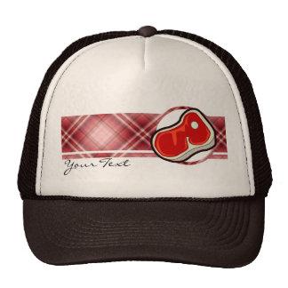 El filete del carnicero rojo de la tela escocesa gorra