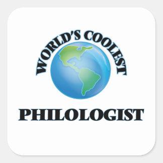 El filólogo más fresco del mundo calcomanías cuadradas