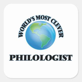 El filólogo más listo del mundo calcomanías cuadradas