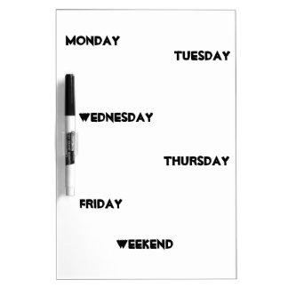 El fin de semana de lunes viernes de los días de pizarras blancas de calidad