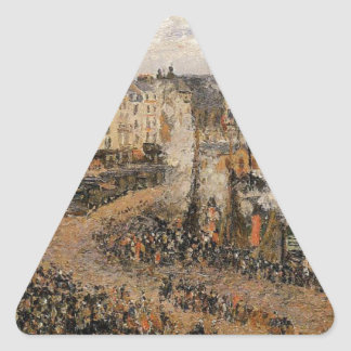 El Fishmarket, Dieppe de Camille Pissarro Pegatina Triangular