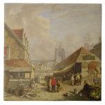 El Fishmarket viejo, Norwich, 1825 (aceite en el p Teja Ceramica