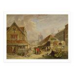 El Fishmarket viejo, Norwich, 1825 (aceite en el Postal