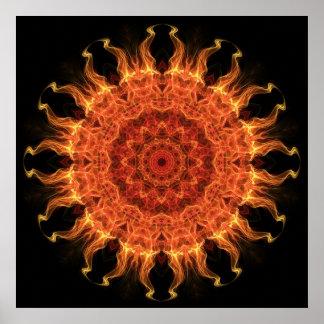 El flamear Sun Poster