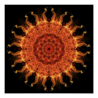 El flamear Sun Póster