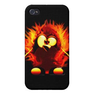 El flamear Tux (antorcha del pingüino) iPhone 4 Carcasas