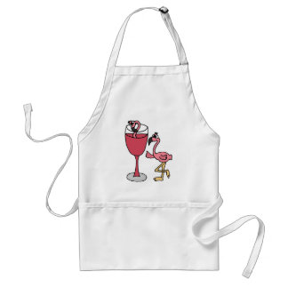 El flamenco rosado adentro se ruboriza copa de vin delantal