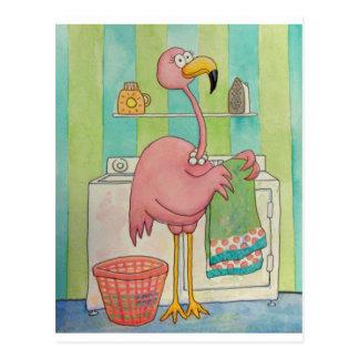 El flamenco rosado caprichoso hace el lavadero lin tarjetas postales