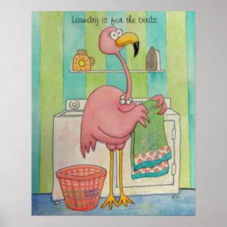 El flamenco rosado caprichoso hace el lavadero póster