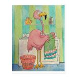 El flamenco rosado caprichoso hace el lavadero postal