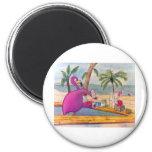 El flamenco rosado caprichoso vierte la playa de l imán redondo 5 cm