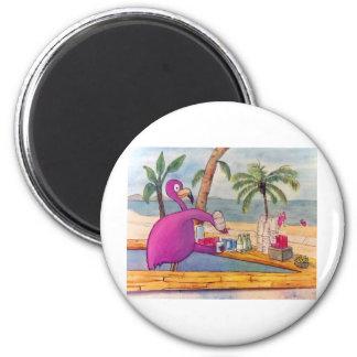 El flamenco rosado caprichoso vierte la playa de l imanes de nevera