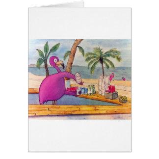 El flamenco rosado caprichoso vierte la playa de l tarjetas