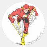 El flash corre adelante etiqueta redonda