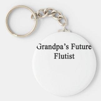 El flautista futuro del abuelo llavero redondo tipo pin