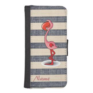 El flmamingo elegante retro raya el monograma del funda cartera para teléfono
