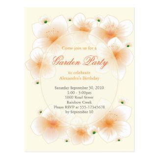 El flor anaranjado florece a la fiesta de cumpleañ postales