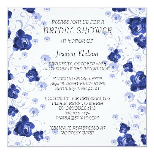 El flor azul del Peony remolina invitación nupcial
