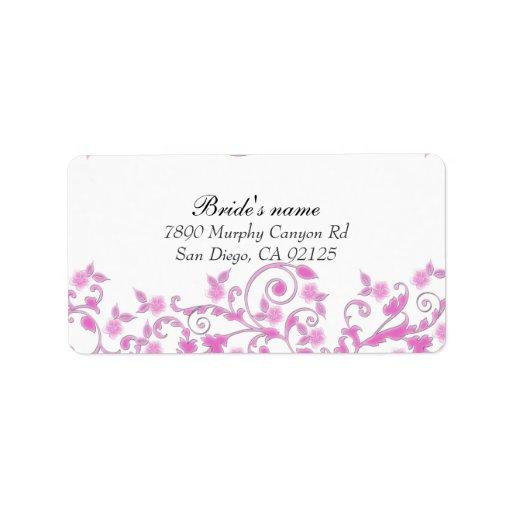 El flor floral rosado remolina etiqueta de etiqueta de dirección