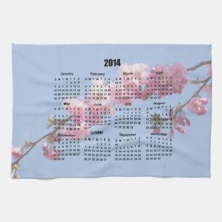 El flor rosado de 2014 calendarios florece el ciel toalla