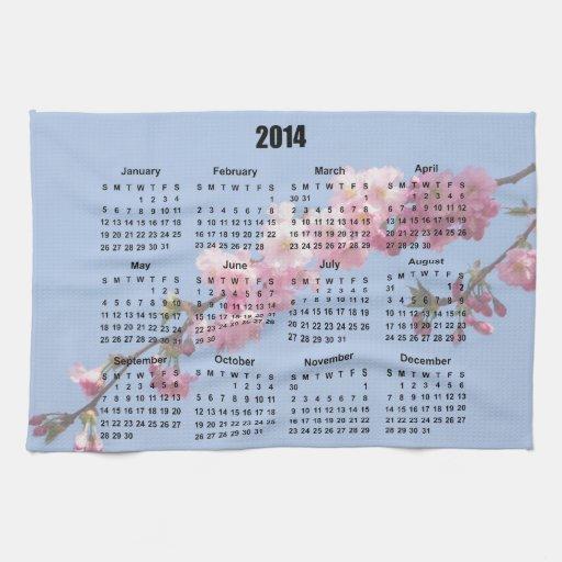 El flor rosado de 2014 calendarios florece el ciel toalla de cocina