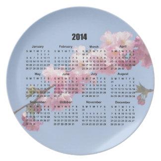 el flor rosado de 2014 calendarios florece el ciel plato de cena